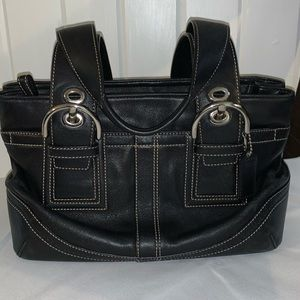 COACH small black leather tote with double handle